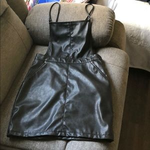 H&M leather overall dress